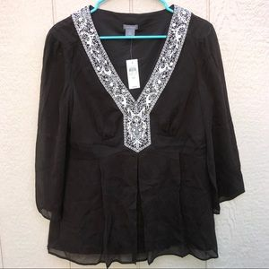 NWT Ann Taylor Silk brown blouse size 10